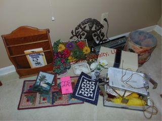 Group of misc items  magazine rack  quilt pcs
