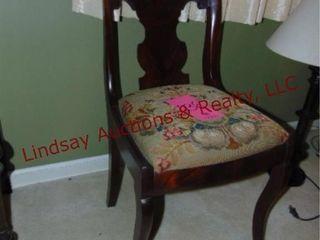 wood chair w  cloth cushion
