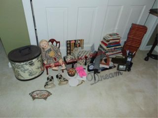 Group of misc items  books  decor  doll