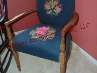 Wood chair w  cloth seat and back