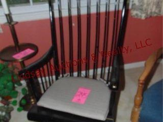 Black wood rocking chair