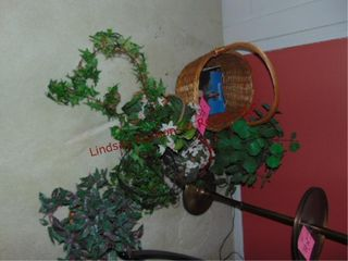 Group of faux greenery   baskets