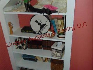 Group of misc  dolls  books  tissue holder