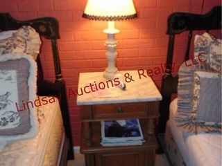 Wood night stand w  marble top   table lamp