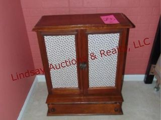 Wood cabinet w  2 doors   drawer 22 5x10x26 5