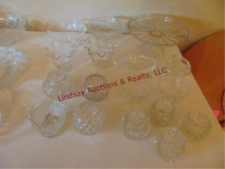 17 pcs of clear glass  cake plate  candle holders