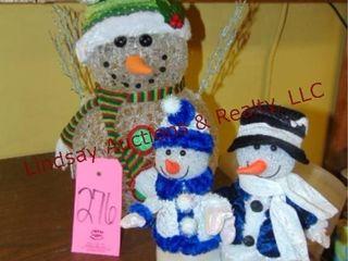 3 small decorative snowmen