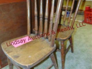 2 wood kids chairs