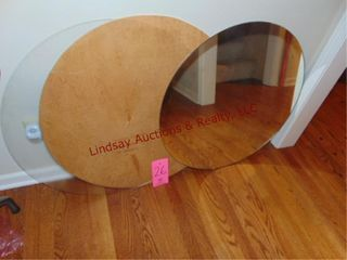 3 round table top pcs  1 wood  1 mirror    1 glass