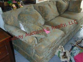 Green sofa approx 76  long