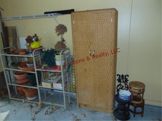 Group of pots  2 racks  storage cabinet   other