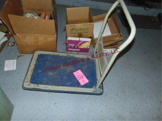 4 wheel flat dolly cart 29x19 w  fold down handle