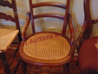 1 wood chair w  wicker style seat