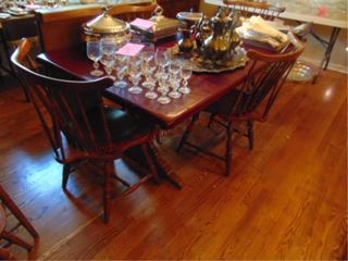 Wood dining table w  4 chairs   2 leaves 70x38
