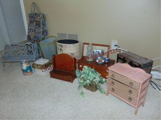 Group of misc  trashcans  jewelry holders  picture