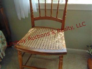 Wood chair w  wicker seat