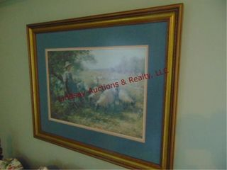 large framed picture of girl   sheep
