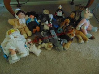Group of misc Dolls  stuffed animals   other