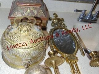4 pcs of brass 2 decorative boxes  egg