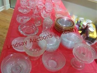 Approx 78 pcs of misc clear glass  plates  bowls