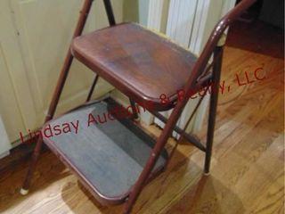 Brown metal step stool