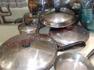 Approx 14 pcs of Revere Ware pots   pans w  lids