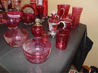 12 pcs of Cranberry bubble glass  a few pcs