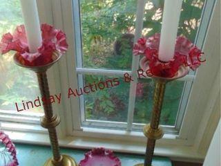 2 brass candlestick holders   3 Cranberry pcs