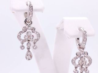 Elegant Diamond Estate Huggie Dangle Earrings in 18k White Gold; $4750