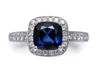 2.32 Carat Natural Blue Sapphire and Diamond Estate Ring in 18k White Gold; AGIL Gemstone Report $9425