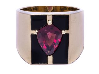 Men's XL Tourmaline and Oynx Estate Ring in 14k Yellow Gold; $4500 Appraisal