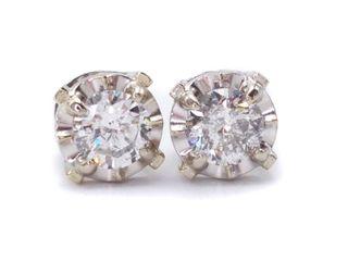 .75 Carat Diamond Stud Estate Earrings in 14k White Gold; $2750