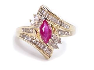 ~1.40 Carat Ruby and Diamond Estate Ring in 14k Yellow Gold; $4250