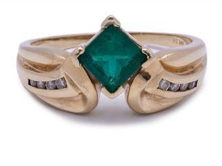 1.25 Carat Emerald and Diamond Modern Designed Estate Ring in 14k Yellow Gold; $3850