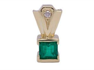 Fine Colombian Emerald and Diamond Estate Pendant in 14k Yellow Gold; $2000