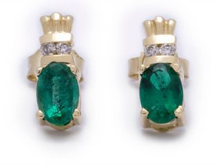 Emerald and Diamond Estate Earrings in 14k Yellow Gold; $2000