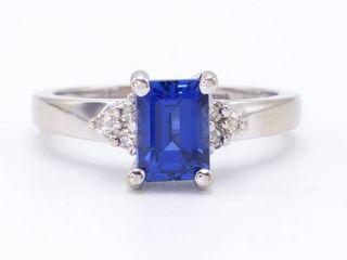 High Grade 1.5 Carat Blue Sapphire and Diamond Estate Ring in 14k White Gold; $4100 Appraisal