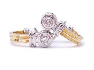 Pair of Diamond Omega Back Estate Earrings in 14k Two-Tone Gold; $2600 Appraisal