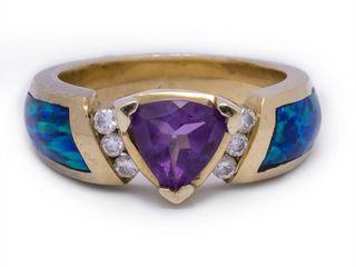 Kabana Designer Amethyst, Diamond, and Australian Opal in 14k Yellow Gold; $3100 Appraisal