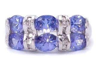 Gorgeous Natural Tanzanite and Diamond Estate Ring in 14k White Gold; $2850