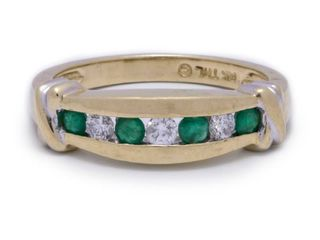 High-End Natural Emerald and Diamond Estate Ring in 14k Yellow Gold; $3125