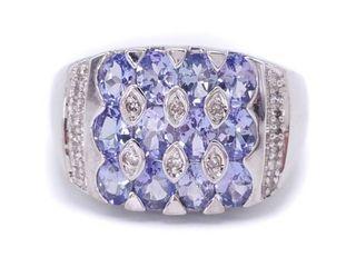 Breathtaking Natural Tanzanite and Diamond Estate Ring in 14k White Gold; $3500
