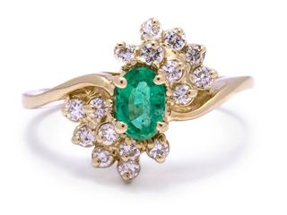 Natural Emerald and Diamond Estate Dinner Ring in 14k Yellow Gold; $2200