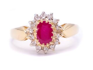 Radiant Red Ruby and Diamond Estate Ring in 14k Yellow Gold; $2899