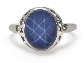 Star Sapphire and Diamond Estate Ring in 14k White Gold; $4800 Appraisal