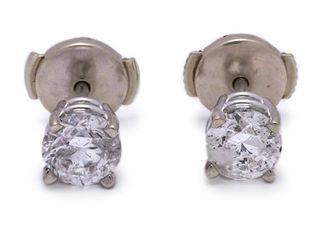 1.06 Carat Diamond Stud Estate Earrings in 14k White Gold; $2200