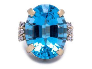 22.11 Carat High Grade Topaz and Diamond Estate Ring in 14k Yellow Gold; $2599