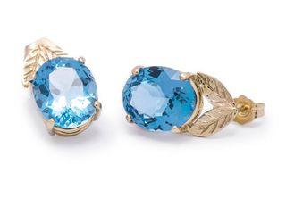 Beautiful 11.56 Carat Blue Topaz Estate Earrings in 14k Yellow Gold; $1250
