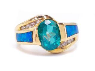 Kabana Designer Green Topaz, Diamond, and Australian Opal in 14k Yellow Gold; $2650