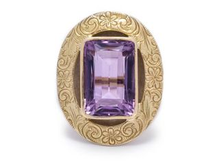Vintage Amethyst Estate Ring in 14k Yellow Gold; $1900 Appraisal